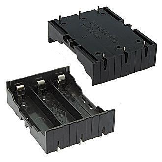 Батарейный отсек для 3 аккумуляторов 18650 открытый на плату