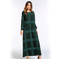 Длинное платье большого размера бледно-зеленого цвета в большой квадрат, фото 1