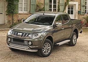 "Порог-площадка ""Silver""  Mitsubishi L200 2006-2015"
