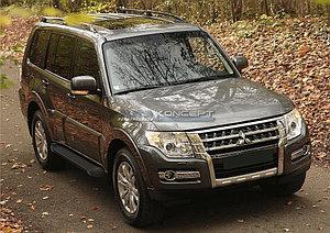 "Порог-площадка ""Black""  Mitsubishi Pajero IV 2014-"
