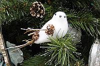 """Дизайнерское новогоднее украшение, """"Птичка белая"""", 8 см"""