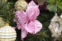 """Дизайнерское новогоднее украшение, """"Розовый цветок"""", 15 см"""