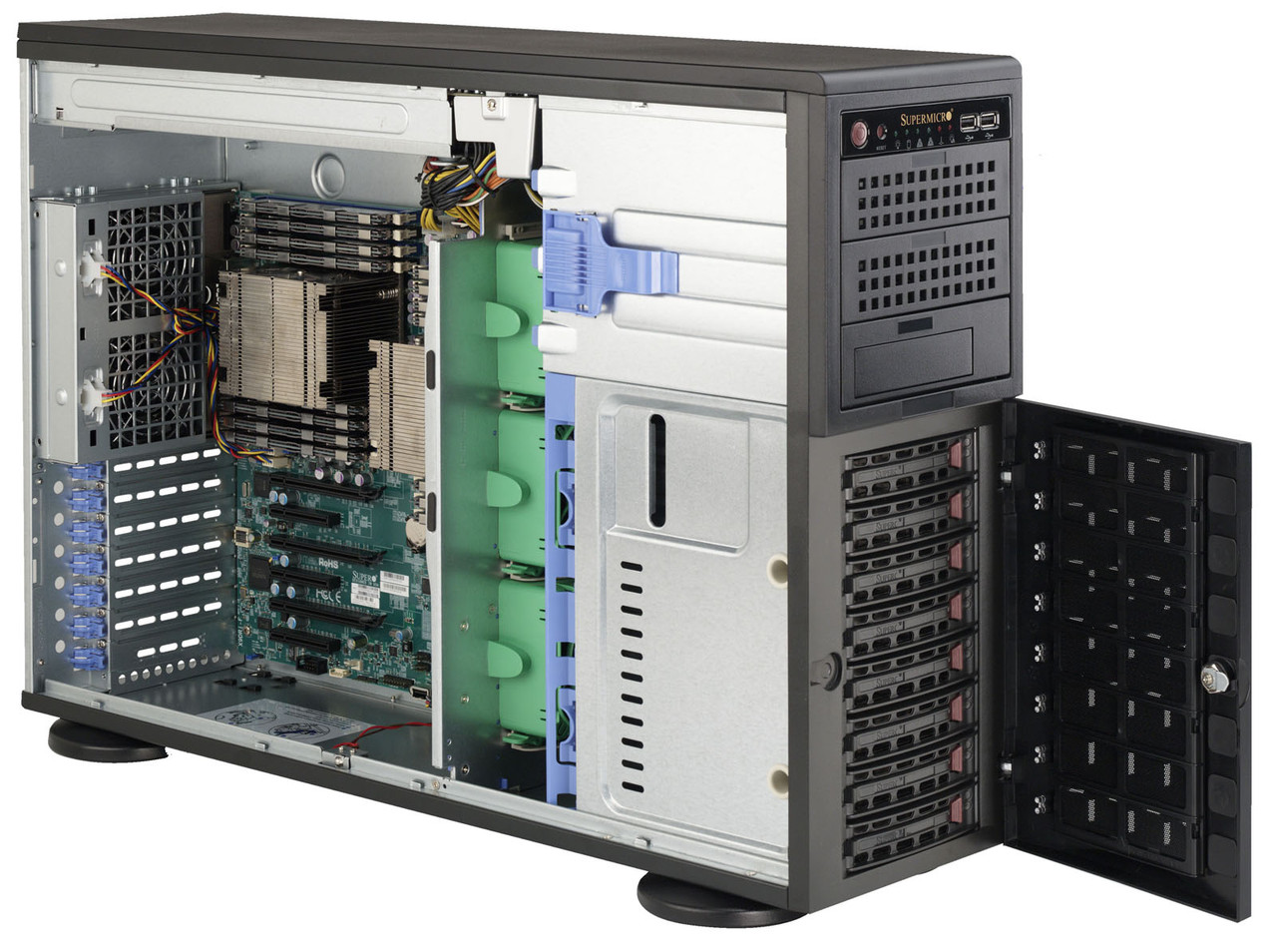SuperMicro 4U/Tower SYS-7047R-TRF 2x4С E5-2609v2/32Gb/4x2Tb SATA III Ent. 7.2k/DVD-RW