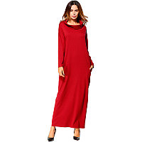Платье большого размера красного цвета с воротником