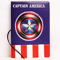 """Обложка для паспорта """"Капитан Америка"""" супергерой"""