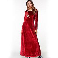 Длинное платье бордовое вельветовое с розой на груди, фото 1