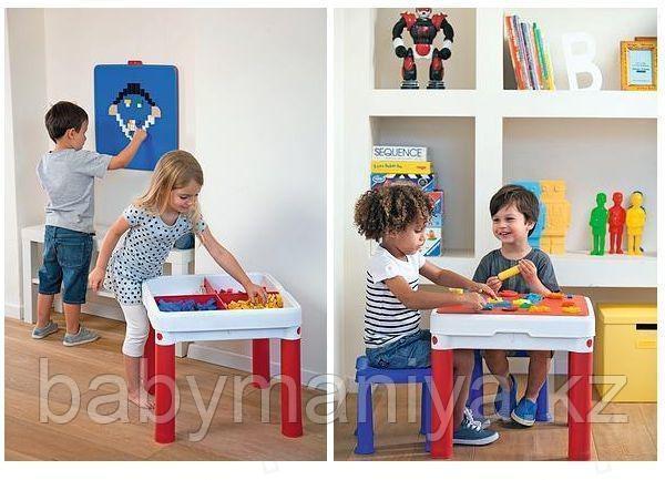 KETER Столик для игр с конструктором3в1+2табуретки (КОНСТРУКТОР В КОМПЛЕКТ НЕ ВХОДИТ (50,5x50,5x44,5h)