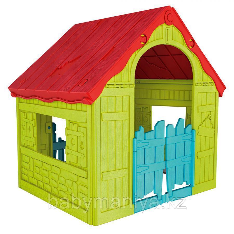 Игровой дом Keter Foldable Playhouse складной Зеленый/красный Green/Red (101.8x89.7x110.6h)