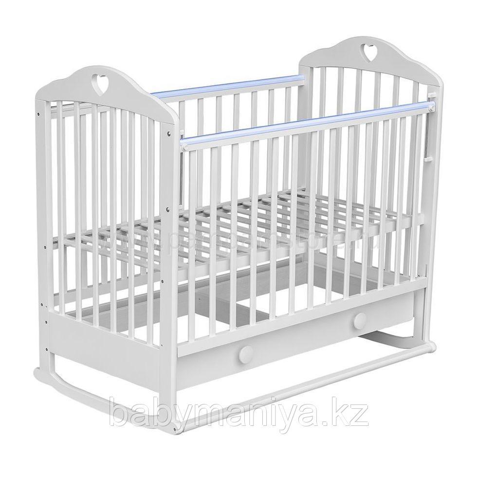 МОЙ МАЛЫШ Кровать детская 07 колесо+ качалка с ящиком с накладкой Сердечко