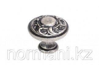 Мебельная ручка кнопка, замак, цвет старое серебро
