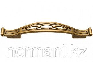Мебельная ручка, замак, размер посадки 128-96мм, цвет бронза античная французская