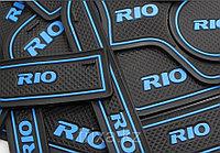 Резиновые коврики по консоли Kia Rio / Киа Рио, фото 1