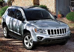 "Порог-площадка ""Black"" Jeep Compass 2011-2013"
