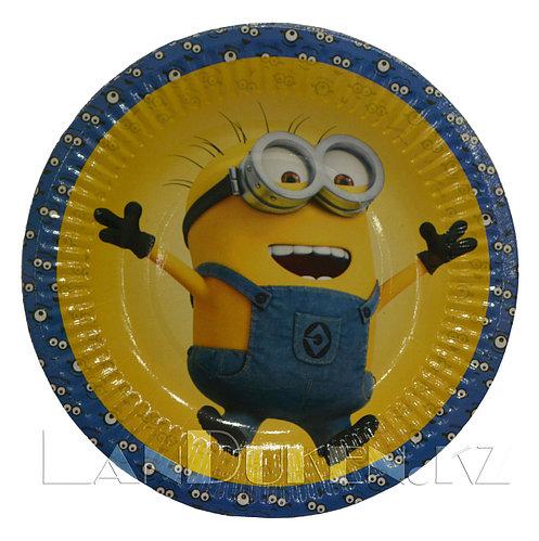 Набор детских бумажных тарелок «Миньоны 10 шт» для пикника, праздника (одноразовые)