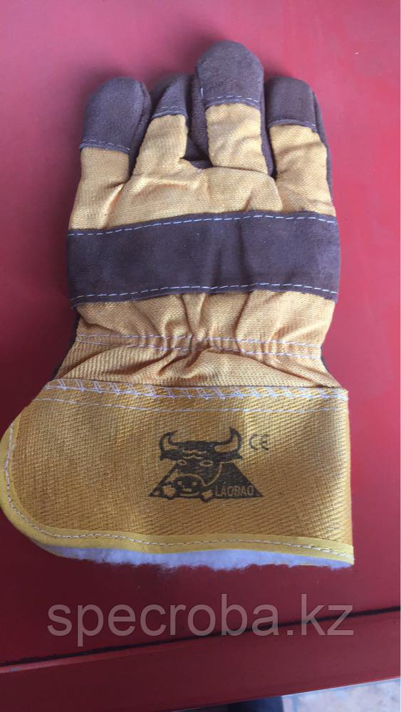 Перчатки комбинированные Спилковые утеплённые