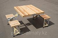 Стол-чемодан со скамейками деревяный, фото 1