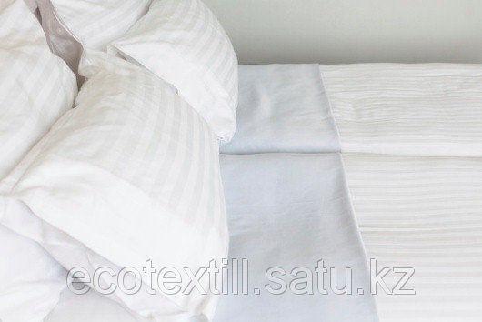 Постельное белье Сатин белый , с полосой   130 г/м 1,5 сп., фото 2