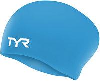Шапочка для плавания (для длинных волос) TYR Long Hair Wrinkle Free Silicone Cap 420 Голубой