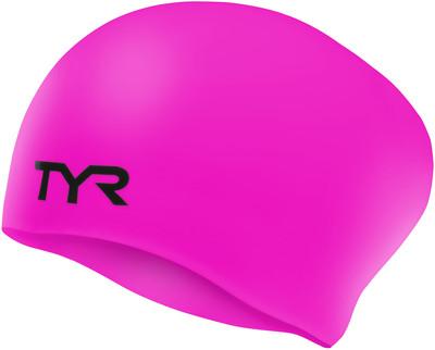 Шапочка для плавания (для длинных волос) TYR Long Hair Wrinkle Free Silicone Cap 693 Розовый