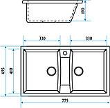 Кухонная двухсекционная мойка Marrbaxx Голби, фото 4
