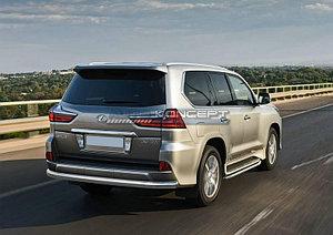 Защита заднего бампера 75х42 овал Lexus LX 2015-