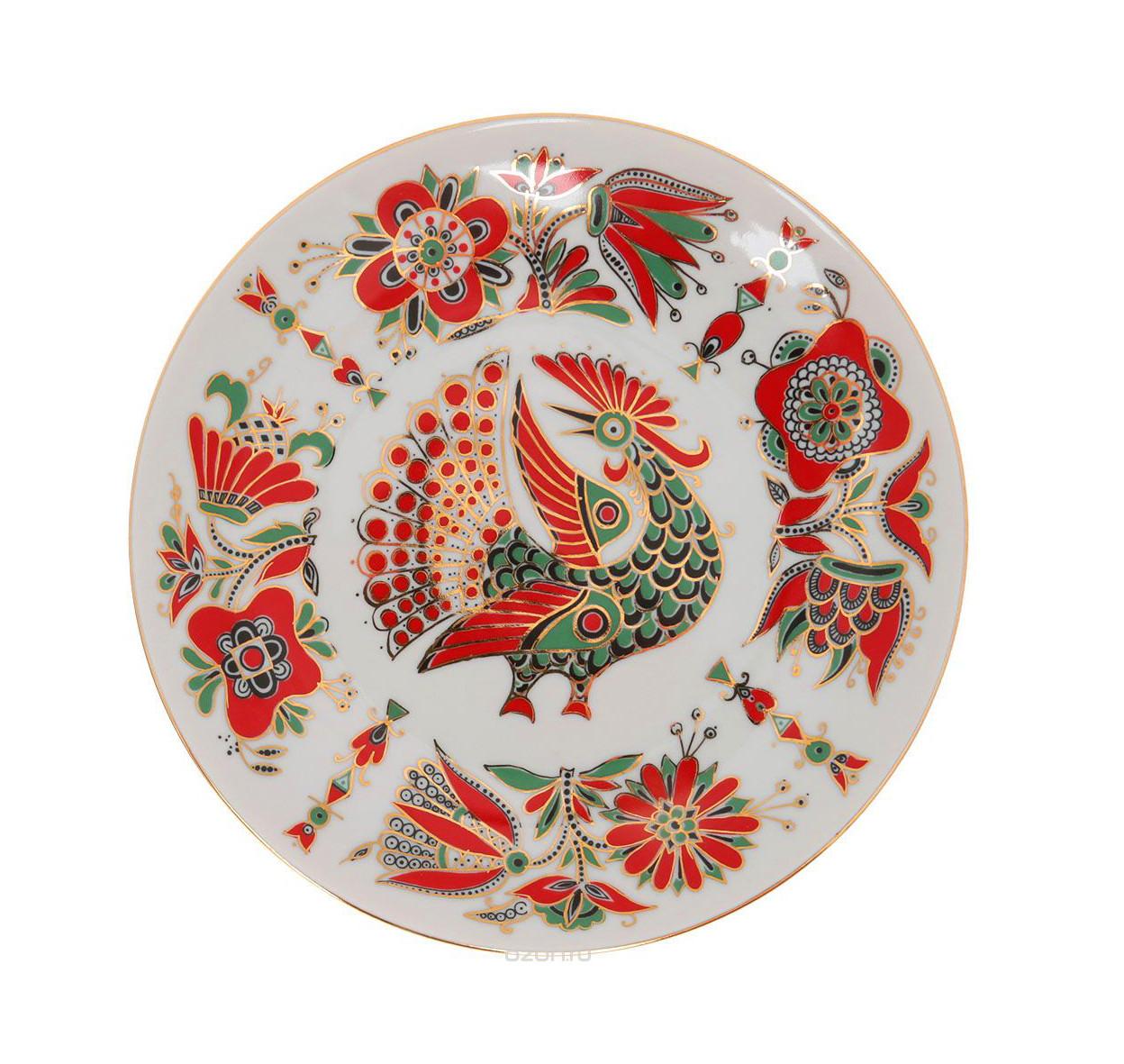 Тарелка декоративная Красная птица. Императорский фарфор