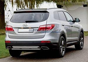 Защита заднего бампрера d57+d57 Hyundai Grand Santa Fe 2013-2015