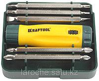 Набор KRAFTOOL Отвертка реверсивная с двухсторонними удлиненн битами, Cr-V, 6 предметов
