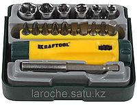 """Набор KRAFTOOL """"EXPERT"""": Отвертка реверсивная с битами, адаптером и торцевыми головками, Cr-V, 18 предметов"""