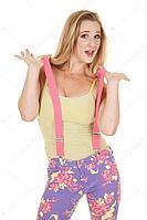 Подтяжки для брюк на вечеринку (розовые)
