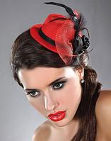 Женская мини шляпа (красная) в ассортименте
