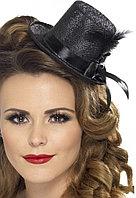 Женская мини шляпа (черная) в ассортименте