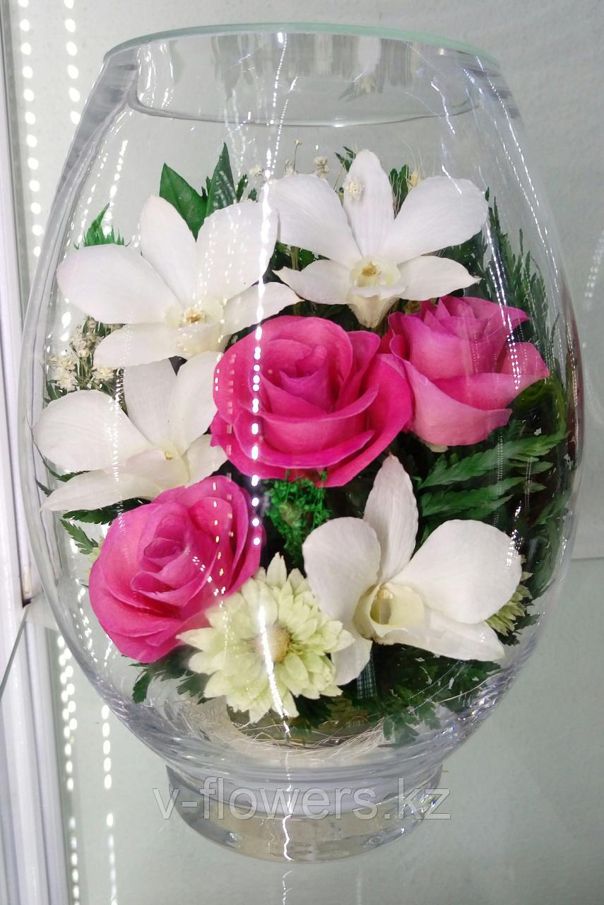 Живые цветы в стекле VSMp