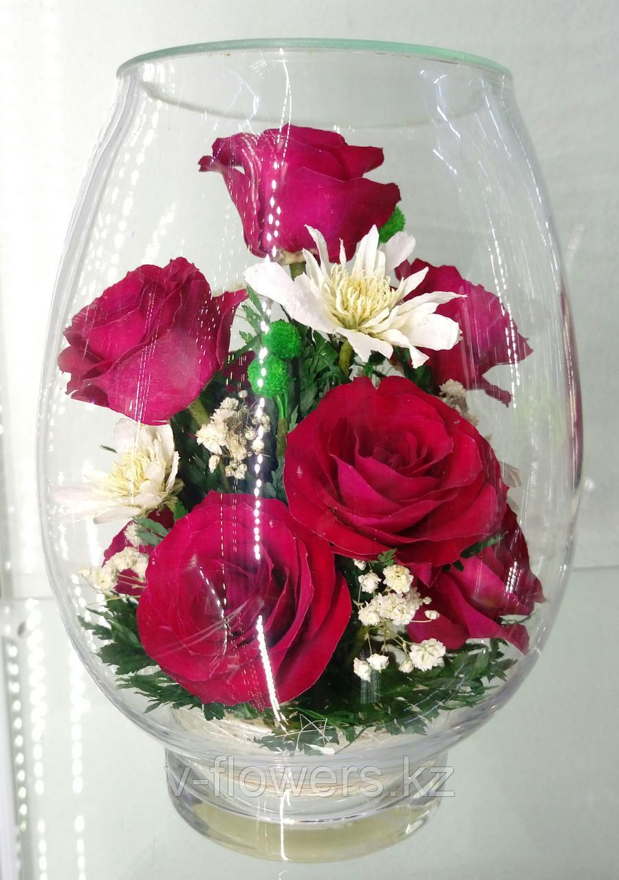 Живые цветы в стекле VSR1