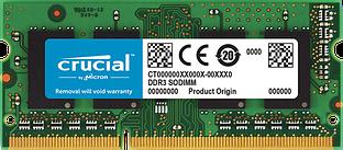 Crucial RAM 4GB DDR3L 1600 MT/s (PC3-12800) CL11 SODIMM 204pin 1.35V/1.5V Single Ranked