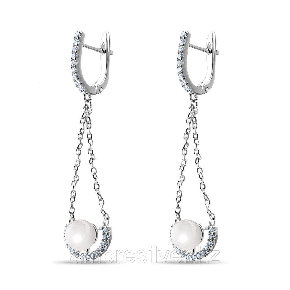 Серьги из серебра с фианитом и жемчугом культ.   Teosa LYD0149E