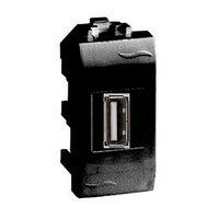 DKC USB 2.0 розетка, Brava, черная, 1 мод.