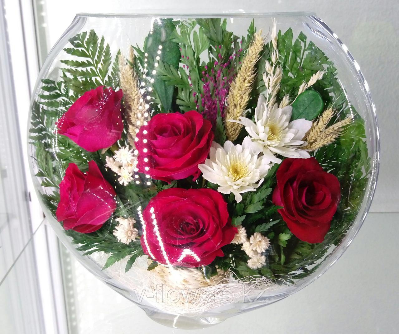 Живые цветы в стекле ESR-01