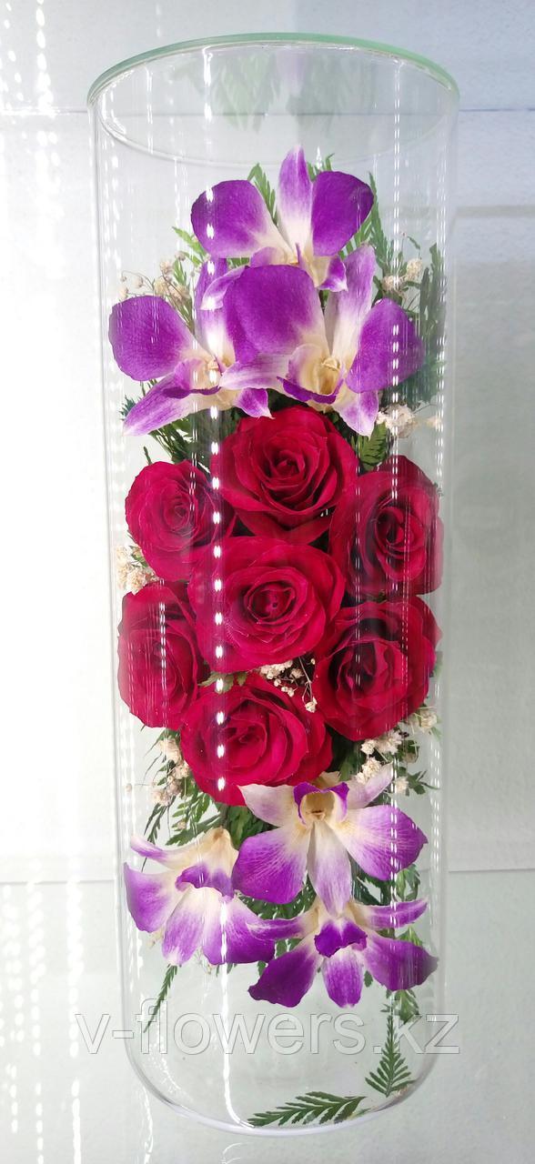 Живые цветы в стекле CJM-01