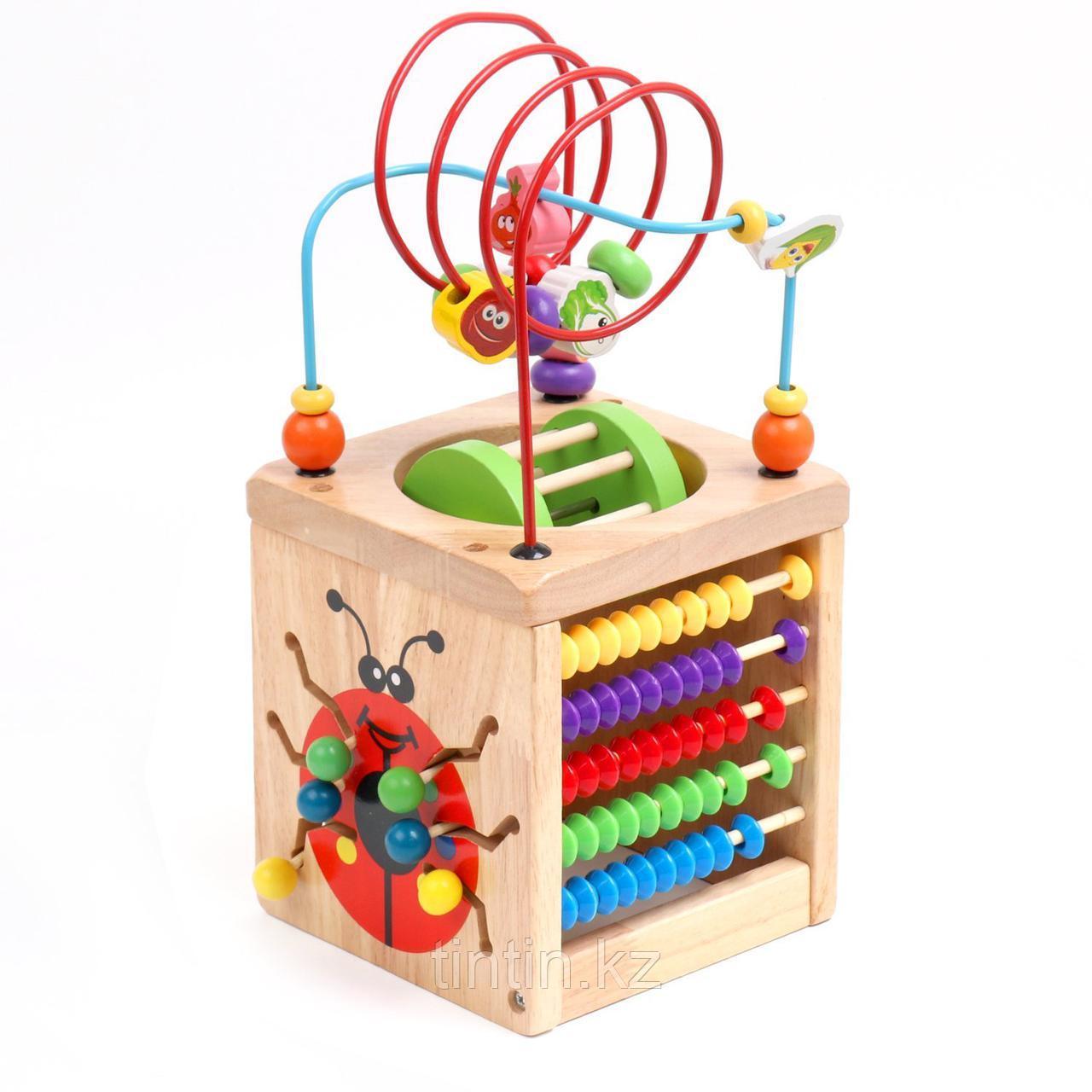 6 в 1 деревянный развивающий куб