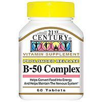 Комплекс B-50, 60 таблеток,21st Century Health Care.
