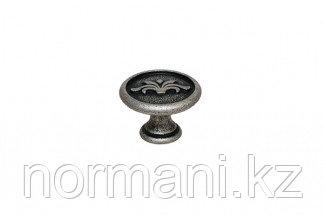Мебельная ручка кнопка, цвет серебро старое