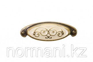 """Мебельная ручка для кухни 64 бронза """"Флоренция"""" + бежевая эмаль"""