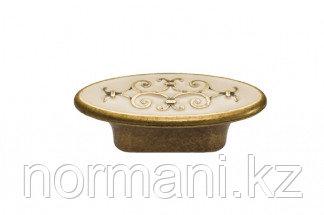 """Мебельная ручка кнопка, замак, цвет бронза """"Флоренция"""" + бежевая эмаль"""
