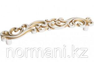 Мебельная ручка, замак, размер посадки 128 мм, цвет молочная с золотой патиной