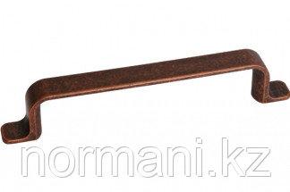 Мебельная ручка, замак, размер посадки 128мм, отделка медь античная