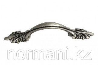 Мебельная ручка, замак, размер посадки 64 мм, цвет старое серебро с блеском