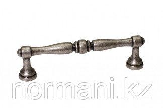 Мебельная ручка, замак, размер посадки 96 мм, цвет старое серебро с блеском