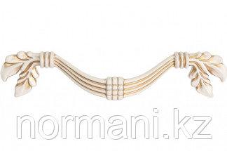 Мебельная ручка, замак, размер посадки 96 мм, цвет молочная с золотой патиной