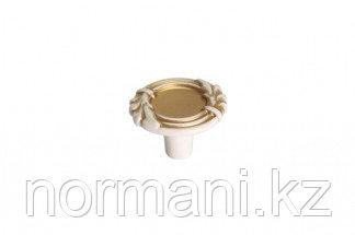 Мебельная ручка кнопка, замак, цвет молочная с золотой патиной
